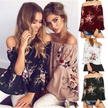 Hot selling summer lady printed women off shoulder tops long sleeve casual T-shirt woman blouse