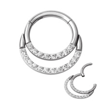 16g 14g Titanium Zircon Double Cluster Septum Clicker Daith Helix Hinged Ring Clip Piercing