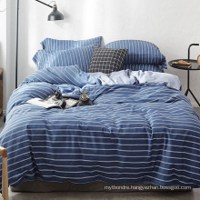 Home Textile Cotton Bed Sheet Set Simple Style Made in China Navy Blue Stripe Checker