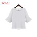 Mode Rüschen Middle Sleeve Frauen Chiffon T-Shirt