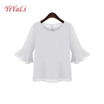 Мода среднего рукав рябить женщин шифон футболки