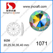 Dz-1071 Flat Back Ab Color Mirror Round Glass Beads with Holes for Garment