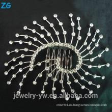 La manera de las señoras de la manera plateó los accesorios del pelo del metal del pelo que el peine nupcial neto de los peines con el cristal