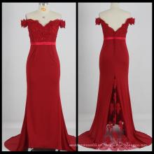 2017 nuevo diseño del vestido largo formal de los cequis del vestido de noche de la sirena del Applique del cordón del hombro