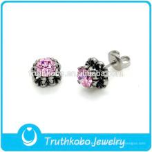 TKB-E0074 Casting Jewelry Designs Pink Flower Earring para Beautiful Girls