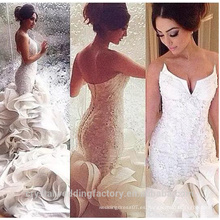 Vestido de novia preciosa 2017 Vestido De Noiva Sereia trasero y cuello volantes vestidos de boda sirena WW1421