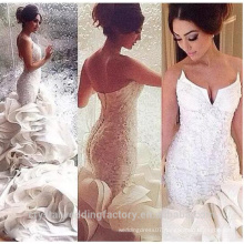 Gorgeous Beaded 2017 Vestido De Noiva Sereia Sheer Back and Neck Ruffles Mermaid Wedding Dresses WW1421