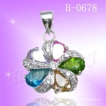 Forme de fleur Colorful Stone 925 pendentif bijoux en argent