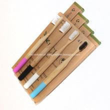 Escova de dentes de bambu orgânico de 4 unidades com marca própria