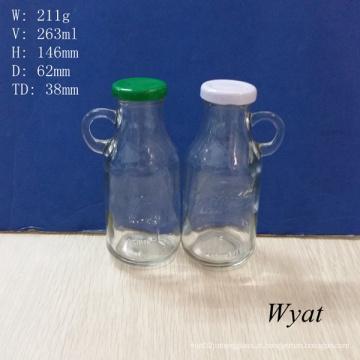 9 oz, 250 ml iogurte leite frasco de vidro com alça e tampa de lata de Metal
