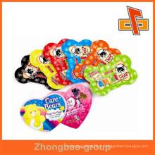 Moda custom-made em forma de coração ou forma óssea única forma sacos para alimentos para animais da China fabricante