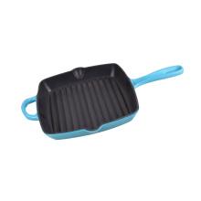 Gusseisen-Grillpfanne aus rotem oder blauem Email oder Pfanne oder Bratpfanne