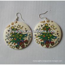 indian wooden earrings Printing Jesus earring round shape