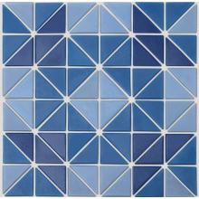 Triangular glass mosaic for swimming pool floor