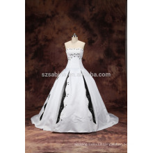 2017 satin sleeveless sweep train ball gown wedding dress with real pictures
