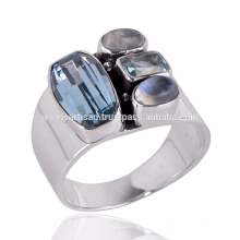 New Arrival Rainbow Moonstone et Blue Topaz 925 Solid Silver Ring