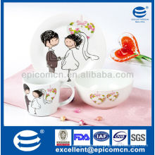 lovely 3 pieces porcelain breakfast gift set for new wedding couples