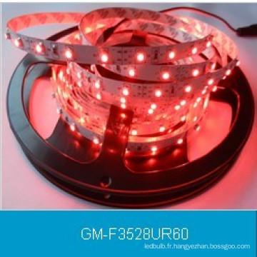 IP20 DC12V 3528 Bande LED de couleur rouge 60LEDs / M / LED lumière flexible