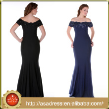 ABI-06 Sheath Floor Length Zipper Back Off the Shoulder Mother of the Bride Dresses with Sequined Short Sleeves