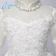 High Neck Appliques Perles Longueur de thé à manches longues Little Girl Robes de fille à fleurs