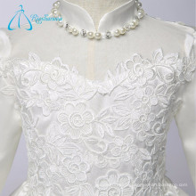 High Neck Appliques Pearls Tea Length Long Sleeve Little Girl Flower Girl Dresses