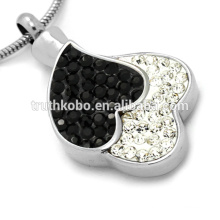 Two Heart Together Overlapping Urns Cremation Jewelry Contain Crystal Memorial Necklac