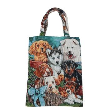 High quality fashion dog printed yarn dyed fabric bag