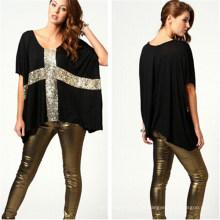 Neue Art beiläufige lose Frauen Baumwolle T-Shirt (MU2379-1)