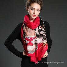 Lady Long Wool Tiger Pattern Impression numérique Calabre rouge Foulard