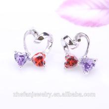 Nouveaux bijoux avec petites boucles d'oreilles d'avenue en cristal double cœur en pierre