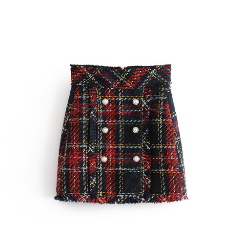 Wolle Multi Plaid A-Linie Mini Short Womem