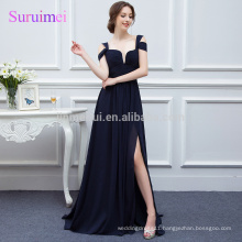 100% Real photos Navy Blue Chiffon Prom Dresses 2018 Vestidos de Noiva Latest Design Strapless Gorgeous Prom Party Gowns