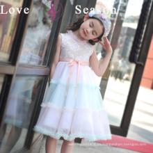 XXLF214 niños verdaderos sin mangas del vestido de la muestra para el diseñador de la muchacha con el vestido de la muchacha de flor de la correa