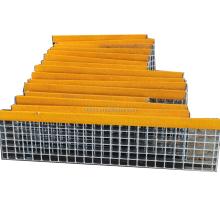 Yellow abrasive nosing non-slip galvanized steel stair tread ladder