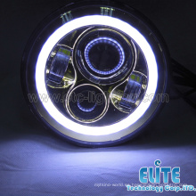 Venta caliente DOT 7 pulgadas Jeep Wrangler led faro redondo con angel eye DRL