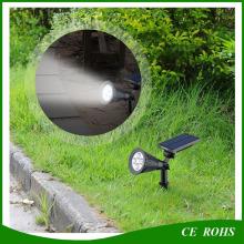 Садовая лужайка Солнечная лампа Водонепроницаемые светодиодные настенные прожекторы с заземляющим шипом