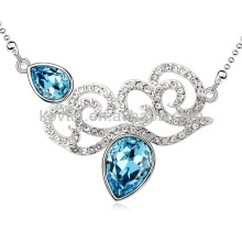 Italiano casamento colar de jóias azul safira colar de ouro branco bijuterias noivas
