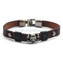 Hot Selling Retro Leather Cuff Brown Personalized Skull Bracelet for Men
