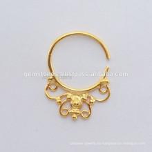 Anillo de nariz perforado plateado oro del septo, Anillo étnico del septo, Joyería hecha a mano del cuerpo fabricante