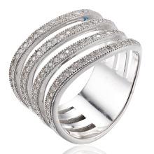 CZ Ring Sterling Silver Bague en plaqué rhodium