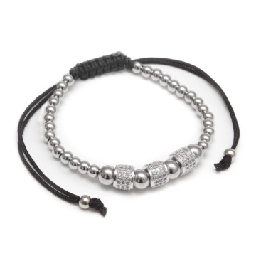Gelang Stainless Steel CZ Charm Bead