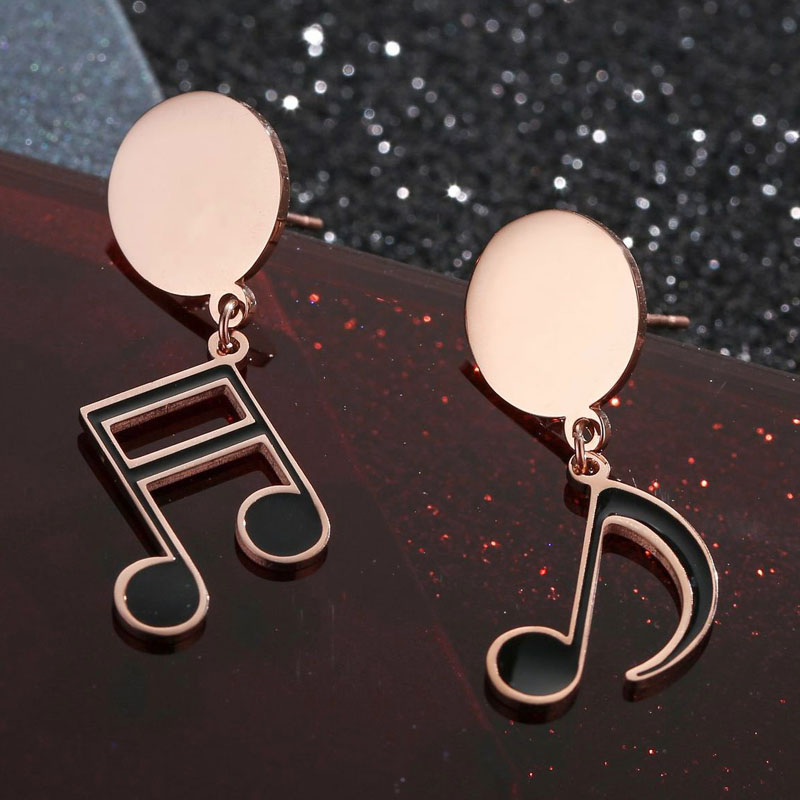 Musical Note Earrings Gold