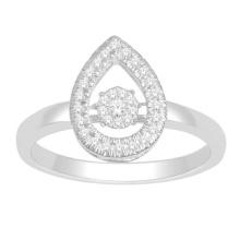 925 Sterling Silber Ring mit Tanzen Diamant Schmuck