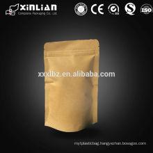 Food grade printed brown ziplock stand up natural kraft paper bag