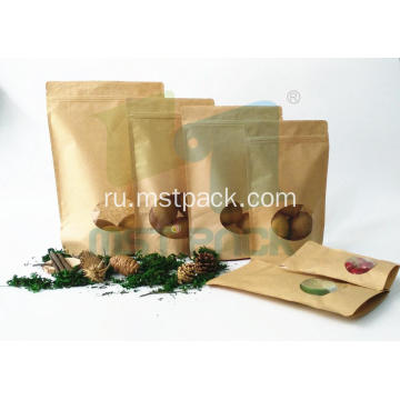 Kraft Paper Stand Up Bag With Clear Window