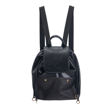 Unisex casual style leather travel bag backpack