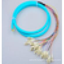 Telecommunication level 900um/2.0mm/3.0mm OM3 12 core multimode fiber optic pigtail direct buy China