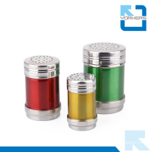 Colourful Multi-Size Stainless Steel Salt and Pepper Condiment Spice Jar Set