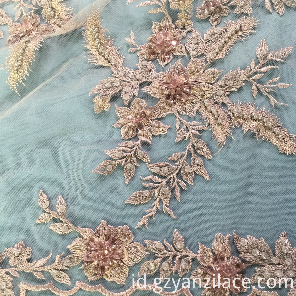 Heavy Beaded Embroidery Lace Fabric