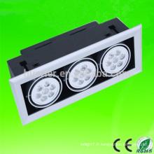 Puce épistar à chaud de haute qualité 85-265V AC 3 tête 9w 15w 30w 36w 54w lumière de grille led 54w
